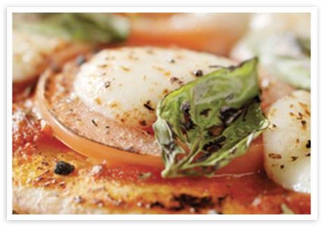 Flat Bread with Tomatoes, Mozzarella, and Basil Salad
