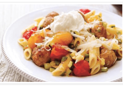 Penne with Tomato and Italian Meatballs