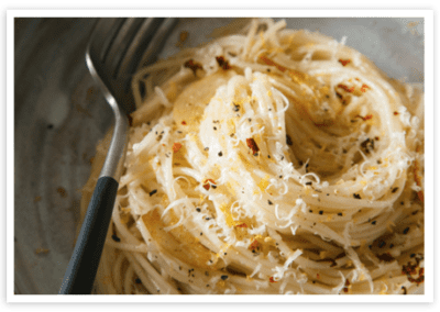Capellini with Garlic, Lemon and Parmesan
