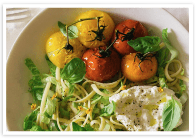 Confit Tomatoes with Pasta Salad and Burrata