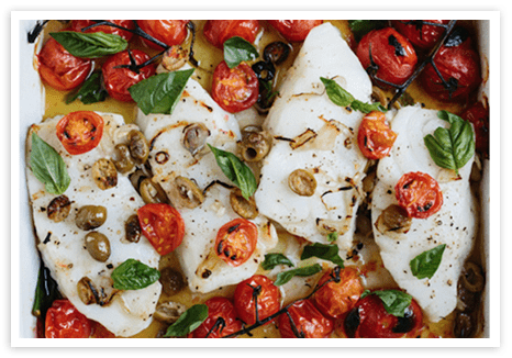 Broiled Halibut with Cherry Tomatoes
