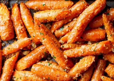 Roast Carrots with Garlic and Parmesan