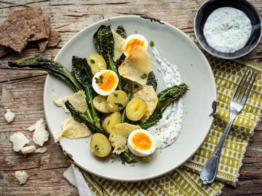 Salad of New Potatoes, Hard-Boiled Eggs and Grilled Parmigiano Reggiano
