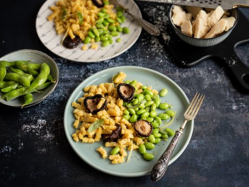 Passatelli with Edamame beans and Shitake mushrooms