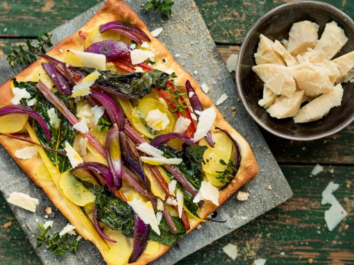 Pizza with Potatoes, Red Onions, Chard and Parmigiano Reggiano